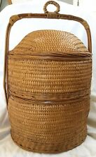 Chinese Wedding 2 Tier Stacking Basket w/ handle, split bamboo, wicker Vtg