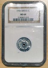 Greece 1954 5 Lepta coin NGC MS64!!! UNC BU Greek