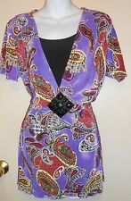 Notations Ladies Empire Waist Embellished Paisley Top Blouse Purple Large (L)