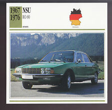 1967-1976 NSU RO 80 Rotary Wankel Engine Car Photo Spec Sheet Info ATLAS CARD