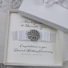 Luxury Diamond 60th Wedding Anniversary Personalised Handmade Boxed Card