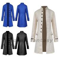 Mens Retro Gothic Brocade Jacket Frock Coat Steampunk Victorian Morning Coat US