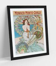 ALPHONSE MUCHA MONACO MONTE CARLO -ART FRAMED POSTER PICTURE PRINT ARTWORK- RED