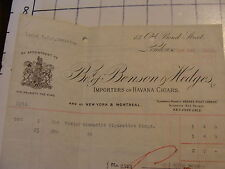 Original 1916 BILLHEAD: BENSON & HEDGES, IMPORTERS HAVANA CIGARS, London
