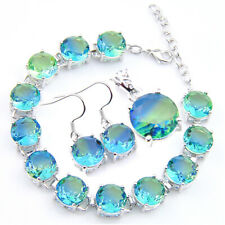 Round Cut Bi Color Tourmaline Gems Silver Bracelet Pendant Earrings Jewelry Set