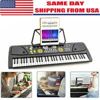 Potable 61 Keys Electronic Keyboard Digital Music Piano W~Microphone & Stand