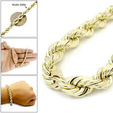 "5MM Men's 10K Real Yellow Gold Rope Chain Wide Bracelet 9"" Inches"