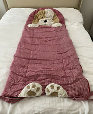 POTTERY BARN KIDS Red Gingham Shaggy DOG 🐶 Puppy SLEEPING BAG