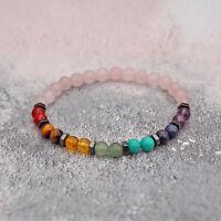 6mm Rose Quartz Chakra Bracelet Genuine Healing Crystal Stone Beads Stretch Fit