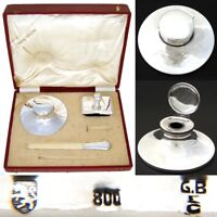 "Antique Italian Hallmarked Silver 3pc Writer's Set, 6"" Inkwell, Orig. 14.5"" Box"