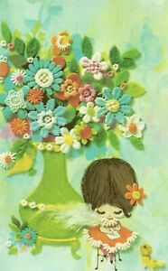 Happy Birthday to my Wonderful Wife Vintage 1970's Greeting Card ~ Kitsch Floral