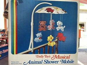Vintage Musical Crib Mobile Baby Nursery No 603 Animals New in Box Dolly Toy Co