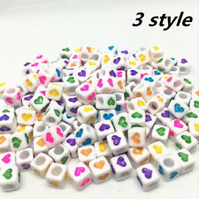 NEW 200pcs 6x6mm Mixed Alphabet/Letter Acrylic Cube Beads  Heart shaped bead