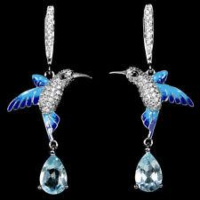 Sterling Silver 925 Topaz, Lab Created Diamond & Enamel Hummingbird Earrings