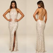 Honor Gold Luxe Sequin Maxi Evening Dress Backless Design Long Ball Prom Gown