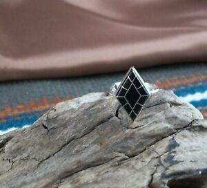 Black Onyx Inlay Ring, size 7