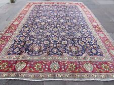 Old Hand Made Traditional Persian Oriental Navy Blue Wool Large Carpet 389x291cm