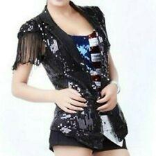 Men Women Sequin Waistcoat Jacket Dance Show Jazz Tassel Glitter Clubwear