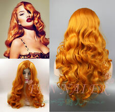 NEW Deluxe Orange Curly PIN UP Retro Bombshell Jessica Rabbit  Wig/Wigs
