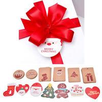 10x Christmas DIY Craft Brown Gift Paper Label Price Hang Tags Cards Wedding HGU