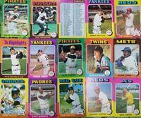 1975 Topps Baseball - Cards #1-220 - Set Break - Choose From the List