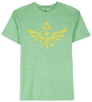 Nintendo Zelda Triforce Logo Green Heather Men's Graphic T-Shirt New