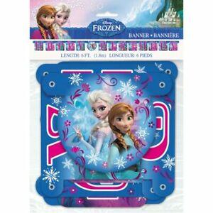 Disney Frozen Happy Birthday Hanging Banner 6 Feet Elsa & Anna Blue and Pink