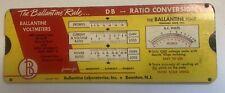 Cq-Vintage 1953 The Ballantine Rule Volts/dB Power/Ratio Calculator Slide Rule