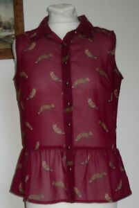 SOUTH FOXES dark cherry pink sleeveless blouse top 10