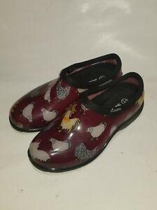 Sloggers 5116CBR06 Chicken Print Collection Women's Rain & Garden Shoe, Size 6,