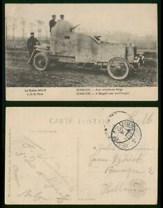 Belgium Feldpost 1910s WWI Postcard Armored Machine gun Vehicle to Netherlands
