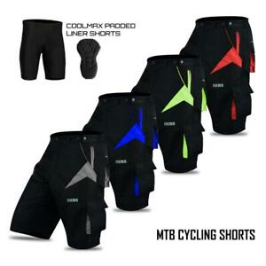 Mens Pro Comfort MTB Mountain Bike Baggy Shorts with Lycra CoolMax Padded Liner