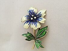 Stunning 14k Gold Tricolor Enamel Flower Broach with Three Beautiful Diamonds