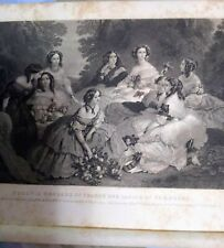 Eugenie Empress of France and Ladies of Her Court Engr by John Sartain 1830s