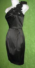 Bisou Black Satin 1-Shoulder Rosette Jewel Social Brides Maid Dress 6 $79