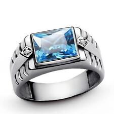 Rectangle BLUE TOPAZ Mens Ring Solid 925 Sterling Silver with 2 DIAMOND Accents