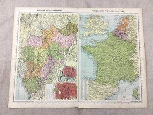 1930 Vintage Map of Belgium Luxemburg Low Countries Old Europe
