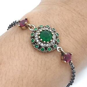 Deco 3.80ctw Emerald, Ruby & Diamond Cut Sapphire 14K Yellow Gold 925 Bracelet
