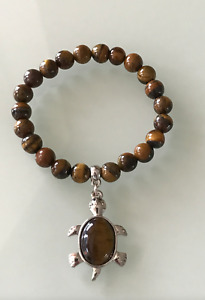 Protection Anxiety Stress Relief Turtle Tigers Eye Crystal Bracelet