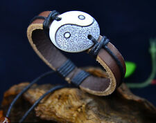 Tibetan style hemp leather yak bone yin ying yang bracelet