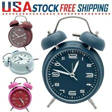 Silent Twin Bell Alarm Clock Vintage Retro Extra Loud Classic Backlight Bedroom