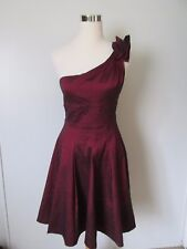 Xscape Red Iridescent One Shoulder Fit & Flare Knee-Length Party Dress SZ: 10