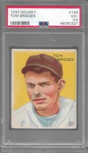 1933 Goudey #199 TOM BRIDGES Tigers PSA 3.5 VG+