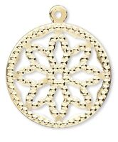 24 Gold Plated Brass 17mm Filigree Flower Circle Charms *