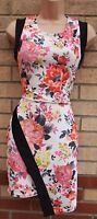 KIAH WHITE PINK MULTI COLOUR QUILTED FEEL BLACK TRIM BODYCON PARTY TEA DRESS 12