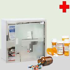WALL MOUNTED LOCKABLE GLASS DOOR FIRST AID MEDICINE CABINET CUPBOARD STEEL SHELF