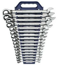 16Pc Metric Reversible Combination Ratcheting Wrench Set w/FREE 13Pc SAE Ratchet