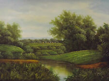 classic village landscape large oil painting canvas original European forest art