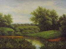 classic village landscape large oil painting canvas original European forest art