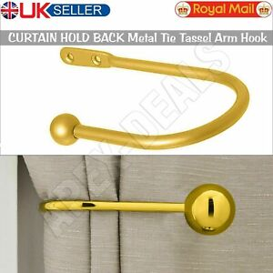 Window Curtain Hold Backs Wall Tie Back Hooks Arm Metal Holder Holdback Gold New
